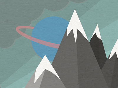 Planet And Mountains grey pink blue sky mountain planet