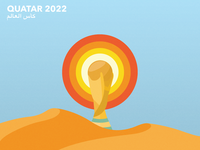 World Cup Poster Concept red yellow desert sand sun football world cup qatar