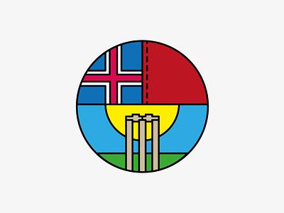 Iceland Cricket flag grass ball sun stumps logo iceland cricket