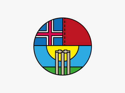 Iceland Cricket flag grass ball sun stumps logo iceland cricket