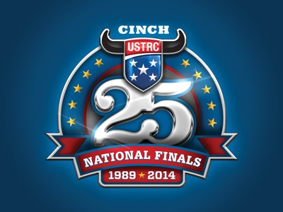 25th Anniversary Logo sport national logo design athletics event silver championship finals anniversary 25 roping
