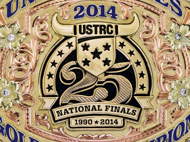 25th Anniversary Buckle  national sport roping 25 anniversary finals championship event logo gold buckle belt buckle