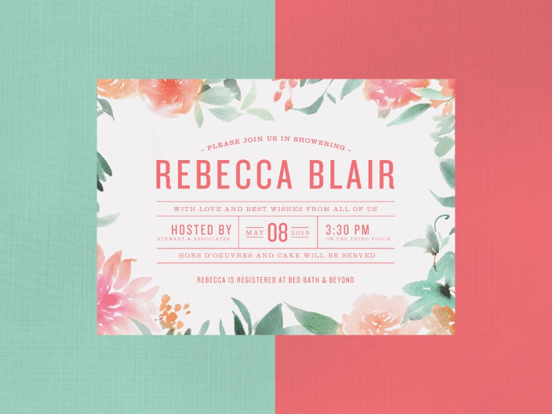 Bridal Shower Invite print wedding bridal event feminine watercolor flowers teal coral typography type invitation