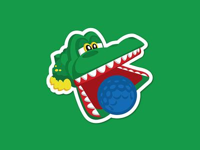 Gator Golf 90s toy sticker mule mini golf rebound gator golf alligator gator sticker illustration vector character