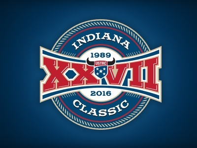Indiana Classic roman numeral xxvii indiana classic sports western rodeo vintage historic event roping logo