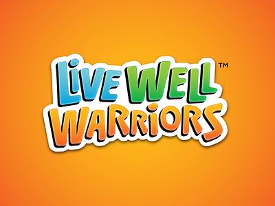 Live Well Warriors type cartoon fun health warriors live wellness kids logomark logo identity brand