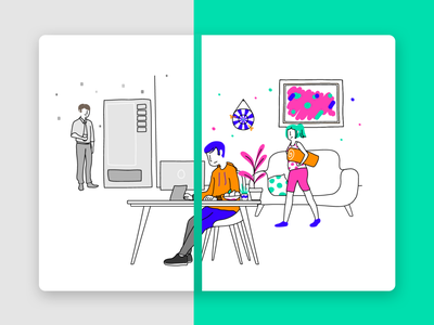 Illustration set for a workplace wellbeing app wellbeing workplace happiness colorful drawing branding illustration app creative design