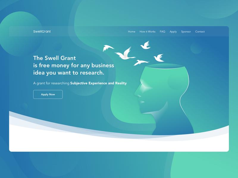 Hero header concept thinking robot research waves brainstorming grants money head birds ideas illustration college