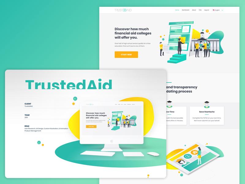 Students Landing Page flat minimal grants website web animation icon app vector logo design branding illustration monitor college chart ux ui