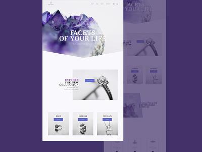Jewellery website concept asymmetric ecommerce online store front page web ui jewellery purple ui web design website