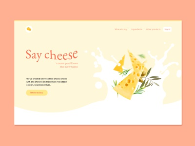 Say cheese | web UI concept warm colors cheese food front page ui web design website