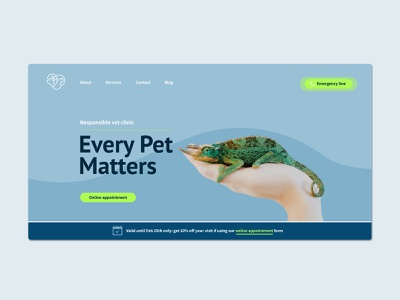 Website hero area // Veterinary clinic // Redesign green and blue animal veterinary hero section hero image front page blue ui web design website