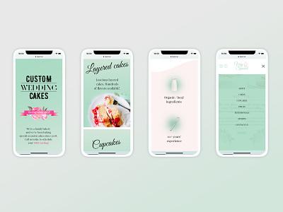Mobile & Desktop layout for a bakery website cakery bakery website pastel colors mobile first ux web design