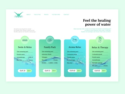 Swimming Pool & Spa pricing page pricing plans pricing page water blue spa swimming design ux web design website