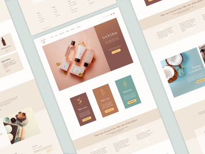 Website Concept for Organic Beauty Brand clean warmcolors webdesign beauty product beauty front page design ux web design website