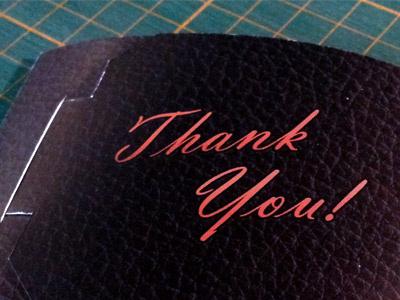 Thank You! thank you card stock prototype
