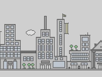 Buildings... illustration city building window doors simple pixel