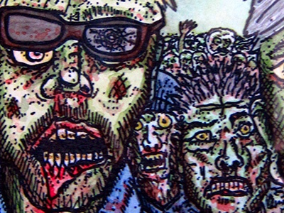 Zombies 4 Crimbo zombies watercolour watercolor painting blood