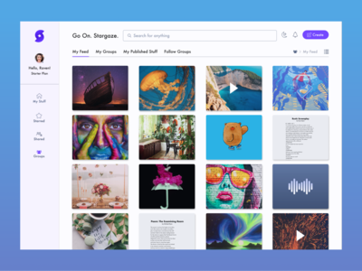 My Feed - Dashboard Design my files search view work navigation design ui navigation ui dashboard dashboard design hover state hover ui design give feedback posts explore posts publish published posts activity feed work feed feed ui feed
