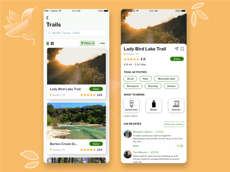 Trails App backpacking travel information hierarchy ui challenge daily ui challenge cards what to bring reviews illustration bird product design visual design interaction design ui design uiux austin trails app find trails explore trails