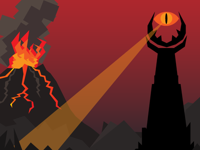 Eye of Sauron flat vector design sauron lord of the rings illustration