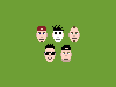 Limp Bizkit pixel art picture band 8bit painter 8bit illustration art numetal john otto dj lethal wes borland sam rivers fred dirst limp bizkit pixelart