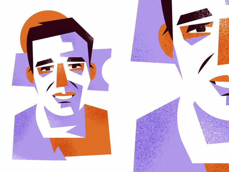 Geometry portrait geometry purple orange flat vector illustration face portrait adobe illustrator vector artwork illustration