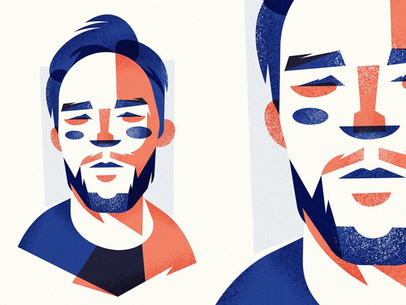 Pewdiepie blue orange flat vector illustration face portrait adobe illustrator vector artwork illustration