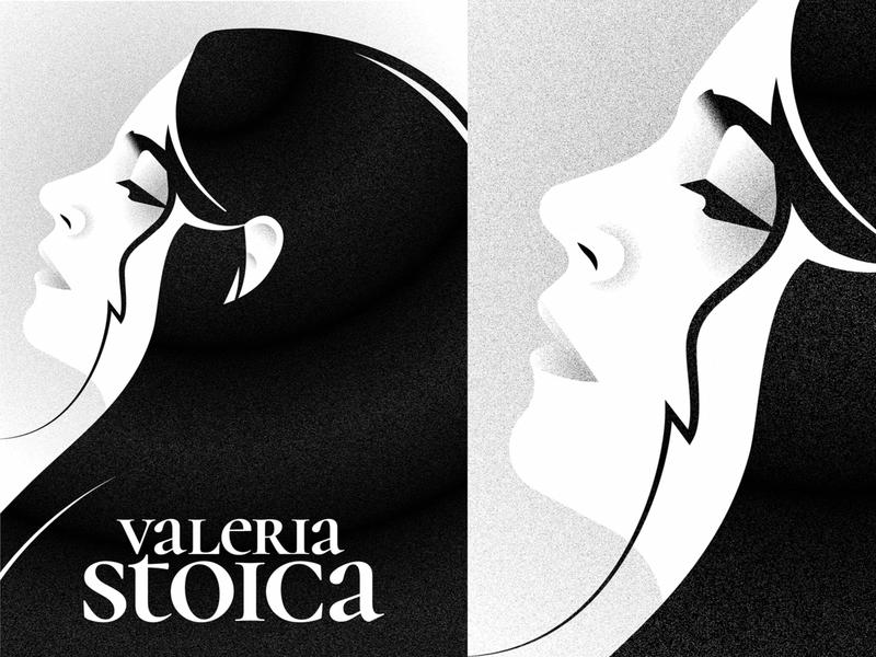 Profile portrait poster profile black and white texture noisy grain girl face portrait adobe illustrator vector artwork illustration