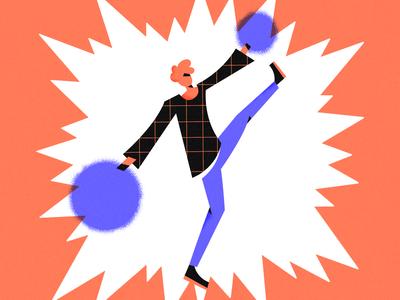 Just saying hi! fun positive dancing orange blue flat character adobe illustrator vector artwork illustration