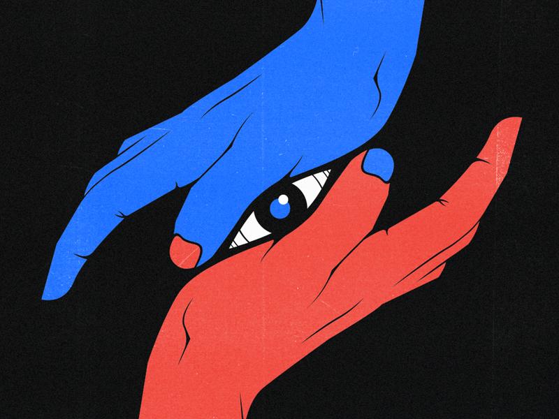 Connection flat hands eye hand vintage contrast blue red adobe photoshop adobe illustrator artwork illustration