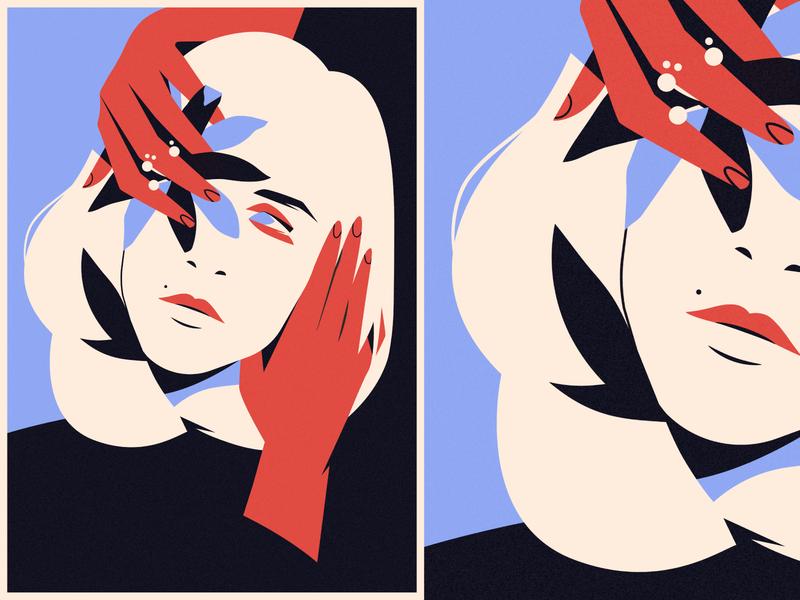 Calm flower blue red calm fashion girl vector illustration face portrait adobe illustrator vector artwork illustration