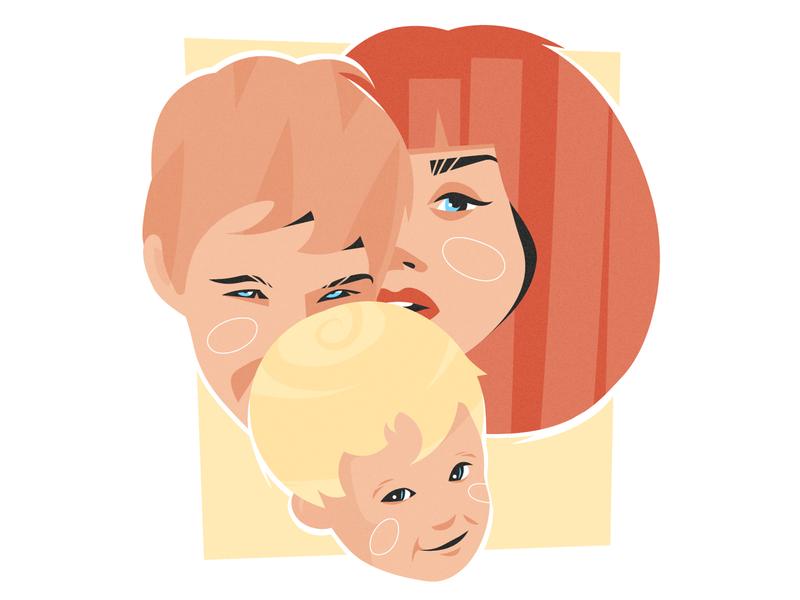 Happy family family cute kid child woman man boy girl vector illustration face portrait adobe illustrator vector artwork illustration