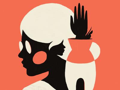 A strange world character art red orange girl flat face portrait artwork illustration
