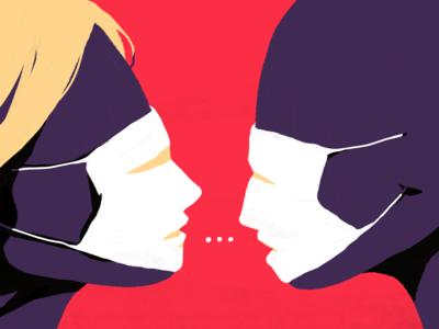 Conversation conceptual digital surreal coronavirus covid19 mask face artwork illustration