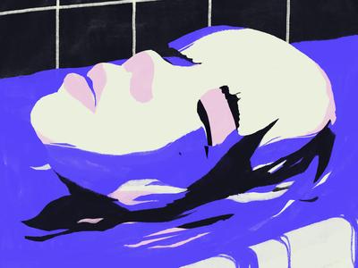 Melancholy bath pink sad water music editorial blue girl portrait face artwork illustration