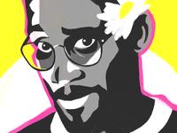 Plug One of De La Soul delasoul daisy flower glasses pink yellow hiphop flat face portrait artwork illustration