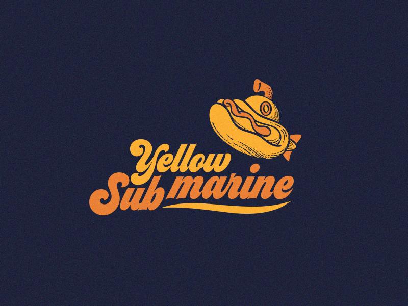 Yellow Submarine Hotdog Bar vintage branding logo design hotdog submarine