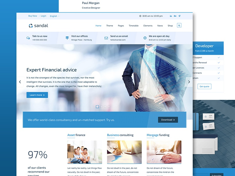We've released Sandal Business HTML template themeforest envato medical construction finance business ui design less css web design html5 template