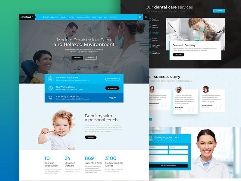 Dental Joomla Template - Home Layout ux template dental dentist recover website design ui joomla cms