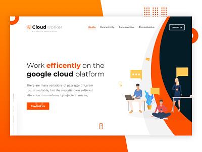 Cloud Worker Landing Page vector ui sketchapp landingpage illustration design branding