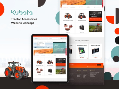 Website re-design Concept for Kubota logo design webdesign website shop ecommerce accessories farming tractors