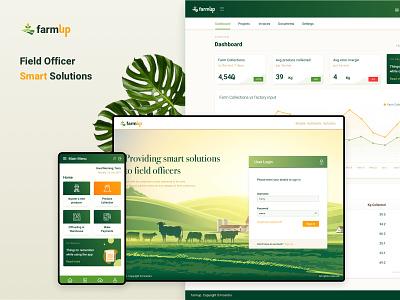 Field Officer Smart Solution App mobile app design dashboard branding logo design web application field officer farmers web app ui mobile app