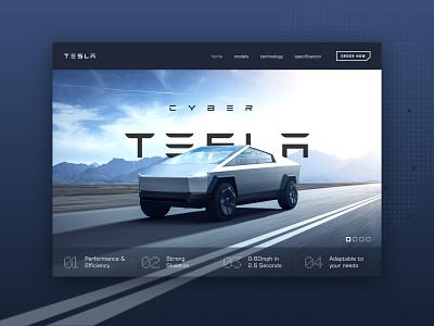 Tesla Truck Hero Presentation hero image future super car truck cyber ui design webdesign tesla
