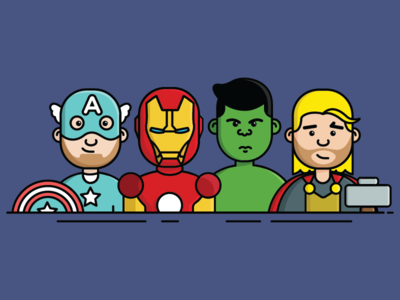 OfferZen Avengers assemble! 🚀💪🏻 awesome characters icons cute icons product manager a team captain america iron man thor hulk avengers
