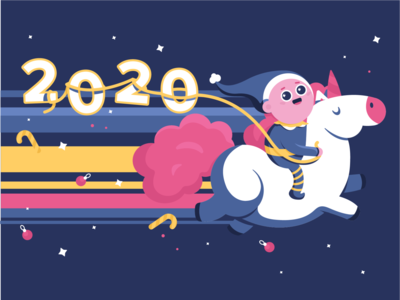 Galloping into the new year 🦄 cute offerzen epic new years 2020 2020 illustration design new year elf unicorn