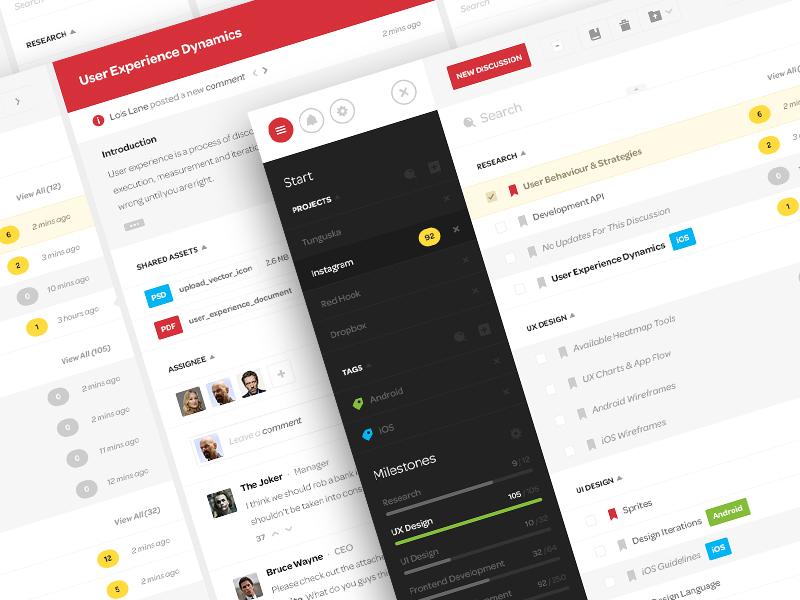 Discuss app collab design ui ux clean minimal web desktop application metro windows