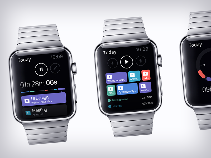 OfficeTime Watch clean minimal ui design web design user interface user experience ux apple watch wear app