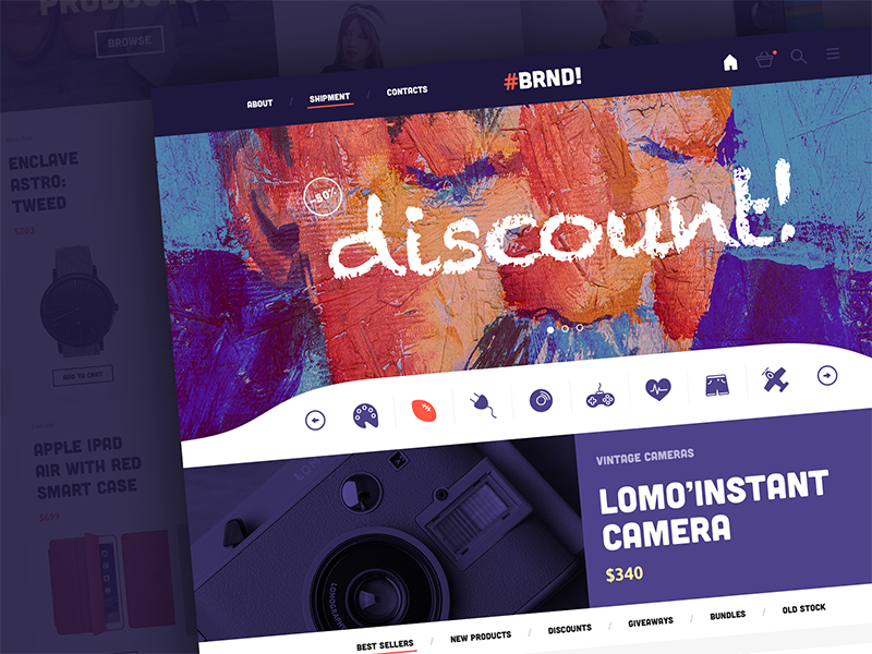BRND clean minimal ui design web design user interface user experience ux template stores ecommerce