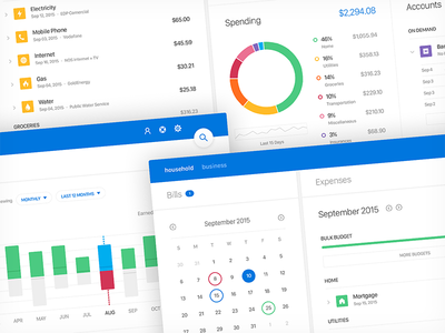 Lotus user experience user interface design ui minimal material big data financial expense budget dashboard app